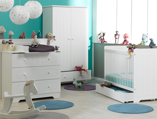 Acheter un lit b b la gamme oslo blanc for Mobilier de chambre complet
