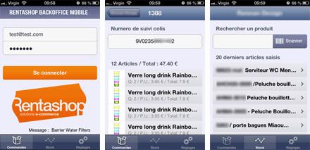 Application pour iPhone et iPad : mini backoffice de la solution e-commerce Rentashop